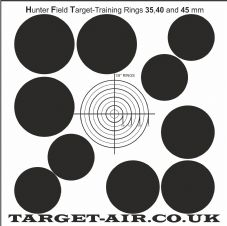 Hunter Field Target training 35, 40 and 45 mm kill zones - Practice Shooting Targets, 250gsm Card